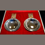 A pair of silver commemorative dishes,