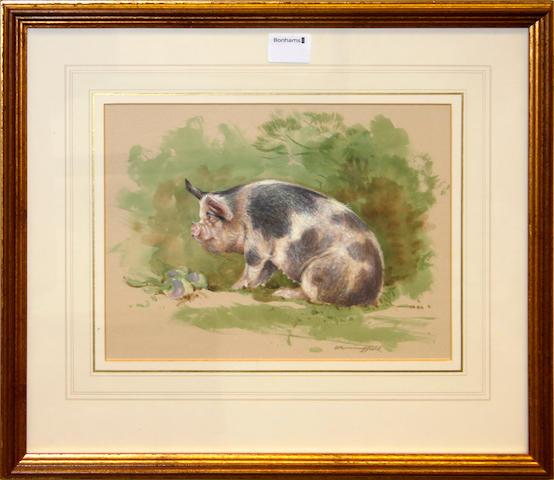 Gordon Benningfield (British) Pigs in a Apple Orchard
