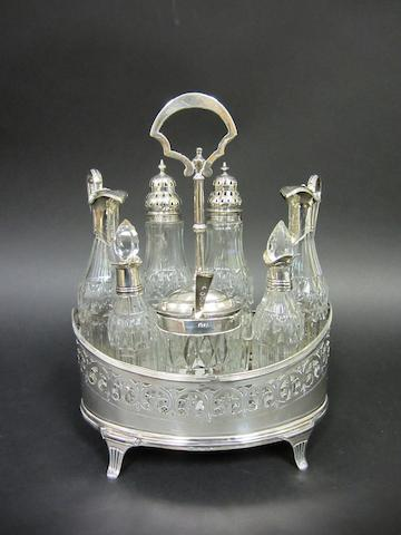 A George III silver cruet stand by Peter and Anne Bateman London, 1797