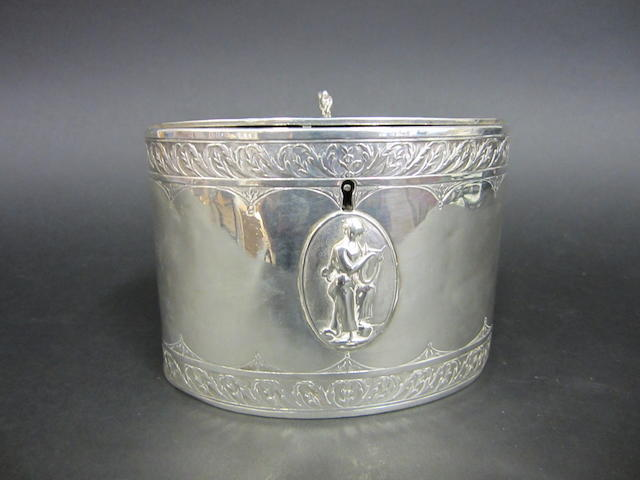 A George III silver oval tea caddy by James Young, London 1782