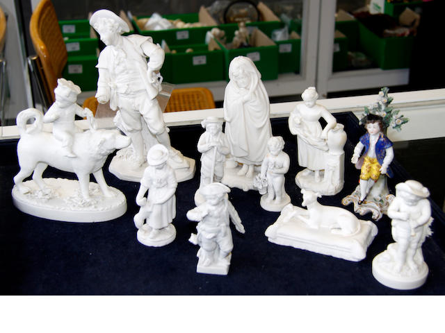 Ten unglazed Parian/biscuit ware figures/animals and one glazed,