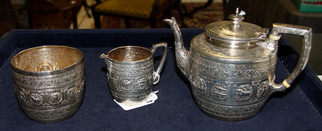 A Victoria Scottish three piece tea service,