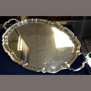 A silver two handled tray