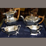 An Art Deco silver four piece tea set