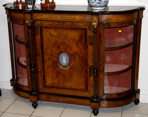A Victorian figured walnut and gilt metal moulded credenza,