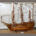 A wooden scratch built scale model of the Royal Albert by D H Paynter, St Ives, Cornwall 70cm high x 85cm long