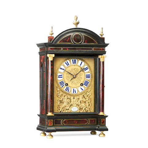 A French Louis XIV and later ebonised, tortoiseshell and ormolu Religieuse mantel clock the movement by Le Baigue, Paris, the dial signed Gribelin A Paris