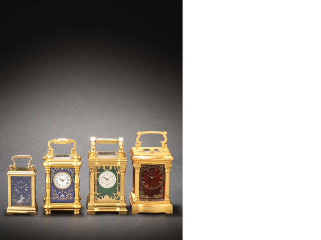 An early 20th century Swiss guilloche enamel minute repeating miniature carriage timepiece