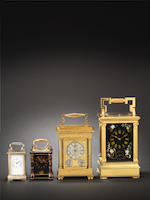 A second quarter of the 19th century English gilt brass carriage timepiece Numbered 289