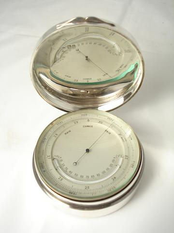 A silver cased compensated barometer by Vickery, London 1900