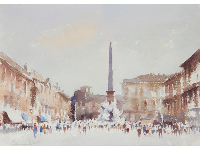 Edward Seago R.W.S. (British, 1910-1974) Fountain of the four rivers, Piazza Navona, Rome