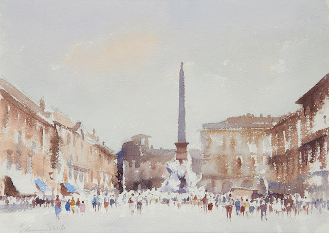 Edward Seago R.W.S. (British, 1910-1974) Fountain of the four rivers, Piazza Navona, Rome