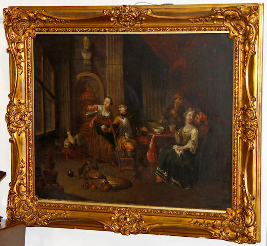 Dutch School 18th Century Figures Drinking Coffee in an Interior 48 x 27cm.