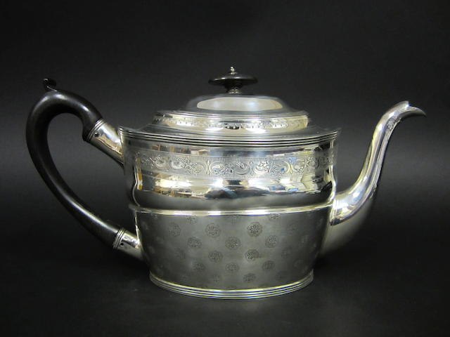 A George III silver tea pot,  by Peter, Anne and William Bateman London 1801,