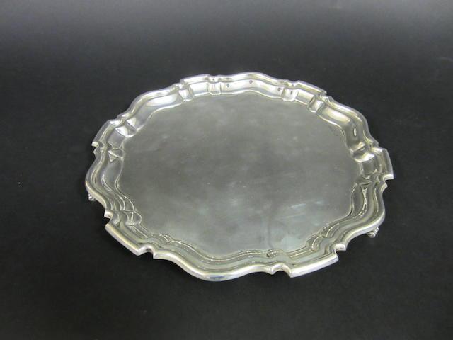 A silver circular salver by E.W.Haywood, Birmingham 1939