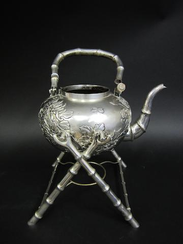 A Chinese silver tea kettle on stand by Hung Chong, Canton and Shanghai, circa 1900