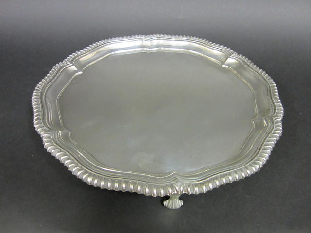A silver circular salver by Elkington & Co., Birmingham 1921