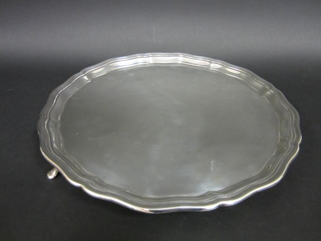 A silver circular salver by A.Faulkner, Sheffield 1923