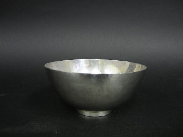 A silver bowl by Georg Jensen, London import 1949, designed by Harald Nielsen