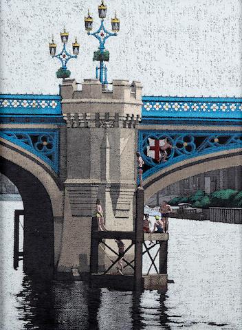 Stuart Walton (British, born Leeds 1934) Boys swimming from a bridge, York