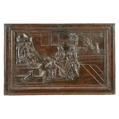 An early 16th century Flemish carved oak panel