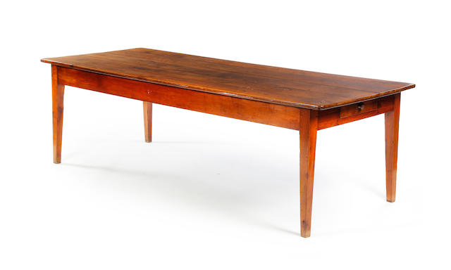 A large 19th century oak and beech farmhouse table