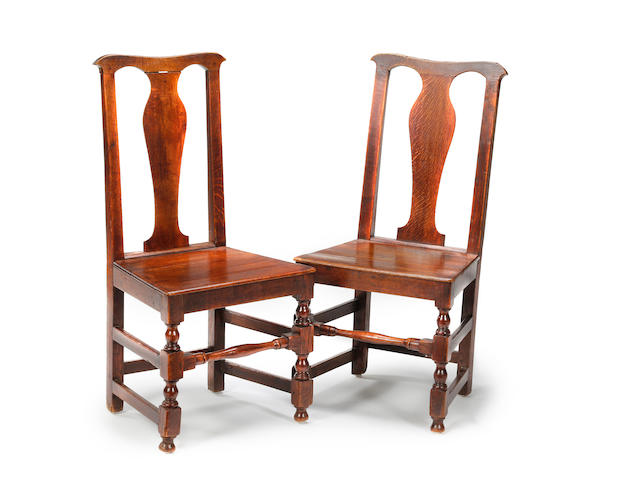 A set of six 18th century oak dining chairs