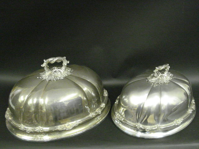 A George IV Old Sheffield plate set of six graduated meat covers  by Creswicks, circa 1825