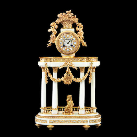 A 19th century French ormolu, porcelain and marble portico clockLe Roy, Paris