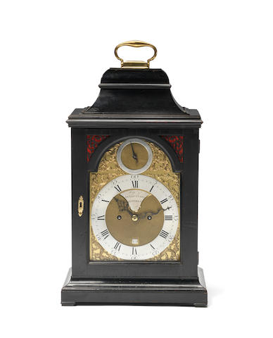 A mid 18th century ebonised bracket clock by Higgs and Evans Higgs and Evans, the front plate stamped Best 998