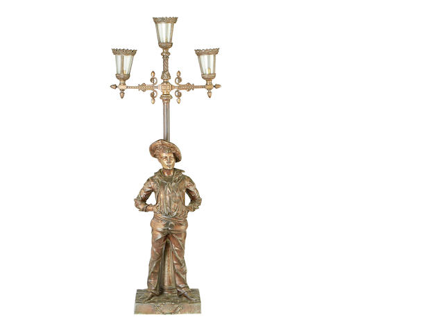 An early 20th century spelter figural lamp base