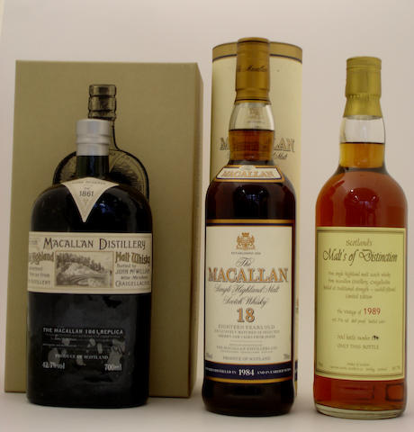 The Macallan Replica-1861  The Macallan-18 year old-1984  Macallan-1989