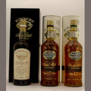 Bowmore-21 year old.  Bowmore-17 year old.  Bowmore-12 year old
