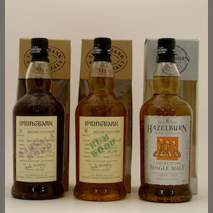 Springbank Marsala Wood-9 year old-1996 (2) .  Springbank Rum Wood-12 year old.  Hazelburn-8 year old