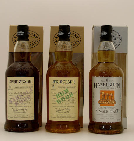 Springbank Marsala Wood-9 year old-1996 (2) <BR /> Springbank Rum Wood-12 year old<BR /> Hazelburn-8 year old