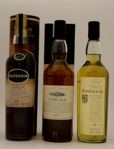Glengoyne Scottish Oak Wood Finish<BR /> Caol Ila-15 year old<BR /> Rosebank-12 year old