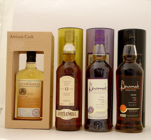 Glenmorangie Artisan Cask  Littlemill-12 year old  Benromach Tokaji Wood Finish-21 year old  Benromach