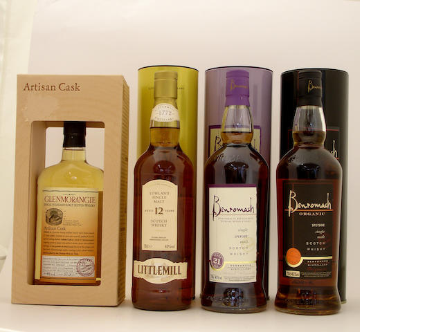 Glenmorangie Artisan Cask<BR /> Littlemill-12 year old<BR /> Benromach Tokaji Wood Finish-21 year old<BR /> Benromach