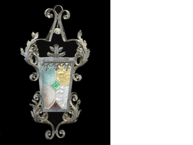 A Victorian patinated metal and coloured glass lantern
