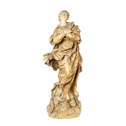 A late 17th century Spanish carved giltwood figure of the Madonna