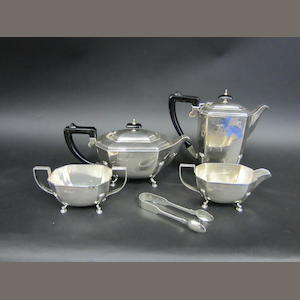 A silver four piece tea service by Francis Howard Ltd, Sheffield 1972  (5)