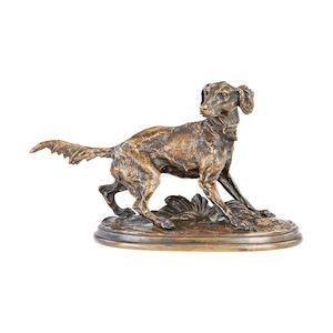 Pierre Jules Mêne, French (1810-1879) A small bronze model of a retriever