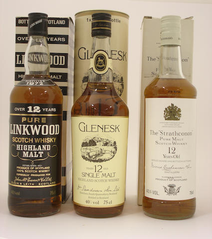 Linkwood-12 year old-1972  Glen Esk-12 year old  The Strathconon-12 year old