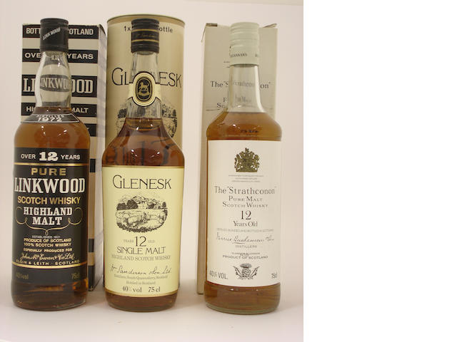 Linkwood-12 year old-1972<BR /> Glen Esk-12 year old<BR /> The Strathconon-12 year old