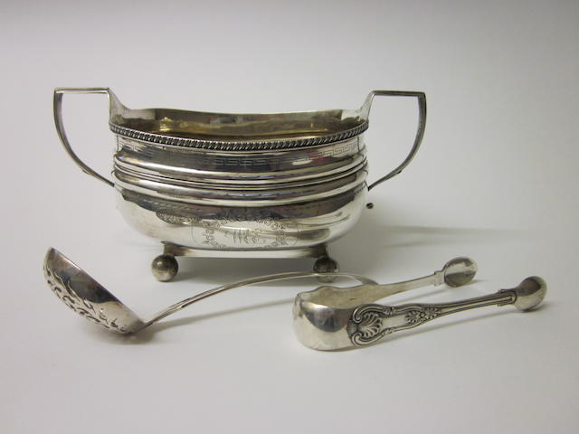 A George III silver sugar bowl, makers mark indistinct, London 1811,   (3)