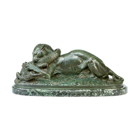 After Antoine Louis Barye, French (1795-1875) A late 19th century bronze model of a tiger with an alligator Tigre Dévorant un GavialPremière version, probably cast by H. Brame