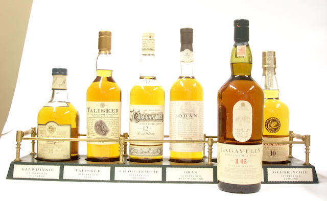 The Classic Malts  Dalwhinnie-15 year old  Talisker-10 year old  Cragganmore-12 year old  Oban-14 year old  Lagavulin-16 year old  Glenkinchie-10 year old