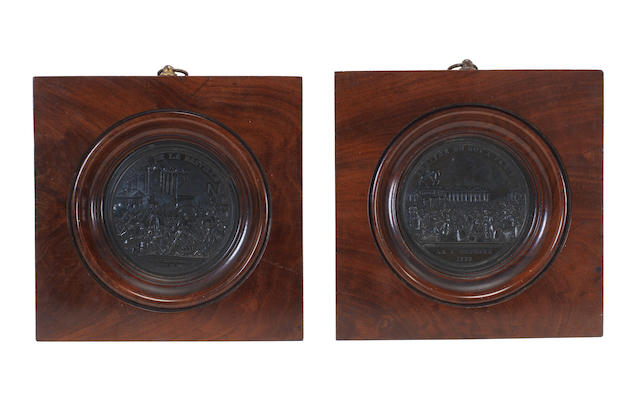 Pair of French Revolutionary bronze medallions, 2