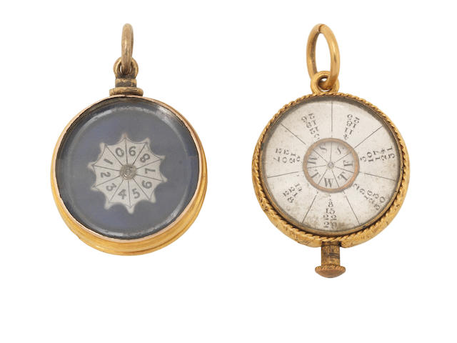 A gold perpetual calendar and matching gambling game, 2