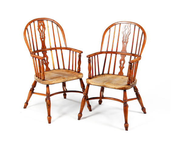 Eight yew and elm high-back Windsor armchairs 20th century